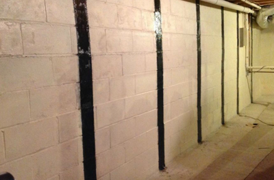 Bowing basement wall repair